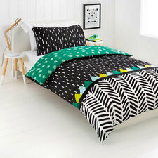 Reversible Quilt Doona Duvet Cover Set: Boys Girls Kids Children Green Bedding