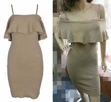 New Arrival Lace Up Frill Overlay Bodycon Dress Nude Black SZ 8 10 12