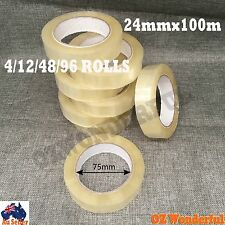 Sticky Tape 24mmx100m 75mm Roll Stationery Adhesive Clear Office Bulk 4-96 Rolls