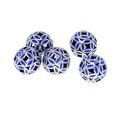 5pcs Wholesale Blue Enamel Flower Round Cloisonne Beads Findings 10mm 12mm
