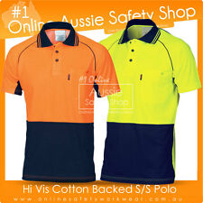 HI VIS AIR FLOW SAFETY POLYESTER OUTER COTTON BACKED POLO WORK WEAR SHIRT
