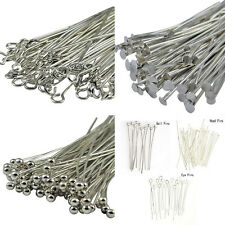50-100Pcs Silver Plated Head/Eye/Ball Pins Findings U Pick Style