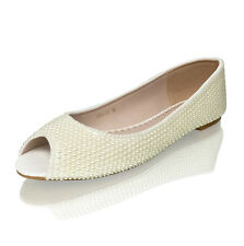 Marc Defang 5mm Ivory Pearls Luxury Bridal Open Toe Flats