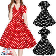 UK Women's Polka Dot Vintage 1950s Rockabilly Casual Party Classical Swing Dress