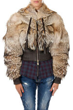 DSQUARED2 D2 New women Real Coyote Short Fur Hooded Jacket  MADE IN ITALY NWT