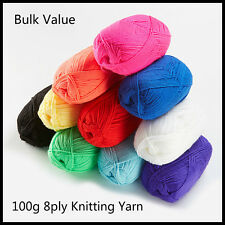 8ply 100g Acrylic Knitting Wool Knitting Yarn Crochet Ball Bulk Lot Mixed Colour