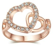 18K Gold Plated Dual Hearts Crystal Ring Made With Swarovski Element Crystal