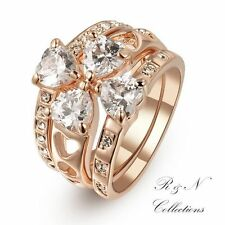 18K Gold Plated 3 piece Heart Shaped Crystal Ring Made With Swarovski Crystal