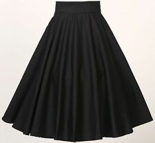 women retro vintage rockabilly 50's party club clothes full circle skirt black