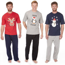New Mens Cotton Blend Christmas PJs Tshirt & Bottoms Pyjama Set Xmas Nightwear
