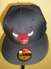 NEW ERA 59FIFTY FITTED CHICAGO BULLS NBA TEAM CAP HAT BLACK NWT