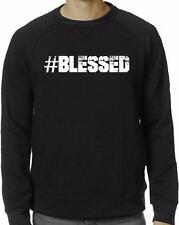 NW MEN'S PRINTED #BLESSED CHRISTIAN GOD LOVE JESUS FLEECE LONG SLEEVE T-SHIRT