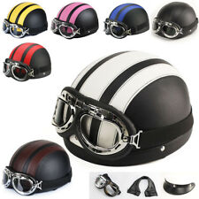 Leather High Quality Half Open Face Motorcycle Helmet Sun Visor With Goggles New