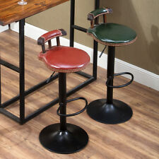 VINTAGE INDUSTRIAL RETRO RUSTIC SWIVEL CAFE CHIAR COUNTER BAR STOOL WITH BACK