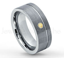 0.07ct Citrine Ring, Brushed Pipe Cut Tungsten Ring, November Birthstone #030