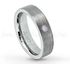 0.07ct Amethyst Ring, Brushed Pipe Cut Tungsten Ring, February Birthstone #019
