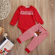 Toddler Baby Boy Girl My First Christmas Jumpsuit Romper Bodysuit+Pants Outfits