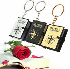 Cross HOLY BIBLE English Bible Jesus Mini Christian Religious Keyrings Keychains