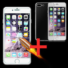 Clear Gel TPU Case Cover + Tempered Glass Screen Protector For iPhone 7 / 7 Plus