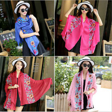 Fashion Women Autumn Winter National Embroidery Floral  Wrap Shawl Scarves Hot
