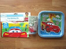 Disney Pixar Car Red 1st Birthday Party Supplies Plates, Cups, Baby Bib, NEW