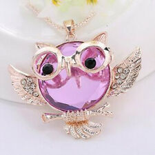 Rhinestone Round shape Owl  necklace Pendant Chain Vintage  Fashion Statement