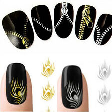 Nail Art Peacock Feather Zipper Stickers Nail Wraps Water Transfers Decal Unique