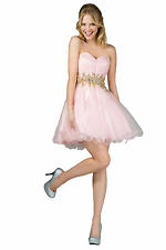 Short Homecoming Strapless Sassy Beaded Empire Waist Formal Prom Dress Cocktail