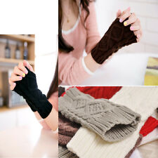 Chic Lady Winter Wrist Arm Hand Warmer Knitted Long Fingerless Gloves Mitten