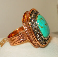 STUDIO BARSE tm  HSN tm TURQUOISE CABOCHON RING STERLING SILVER & COPPER