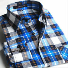 New Winter Flannel Mens Long Sleeve Plaids Checks Casual Dress Shirt Hot Tops #2