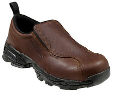 Nautilus Womens Steel Toe Athletic Slip-On M Brown Leather Shoes