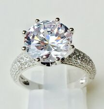 CLARITY FIRE 5 Carat Lab Diamond Round Engagement Ring 925 Solid Sterling Silver