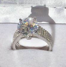 4ct Top Quality Round Cut Micro Pave Diamond Engagement Ring Sterling Silver 925