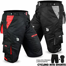 MTB Cycling Short Off Road Cycle Bicycle CoolMax Padded Liner Shorts All Sizes