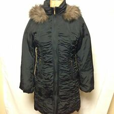 Nine West Faux Fur Hooded Ruched Down Puffer Coat M Black  NWT