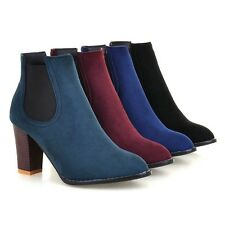 Women's New Suede Fabric Round Toe Shoes High Heel Ankle Boots AU Size 2~12 O809