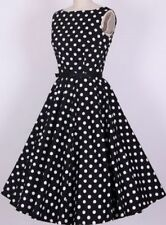 woman rockabilly clothing 1950's swing dance rock n roll White dot circle dress