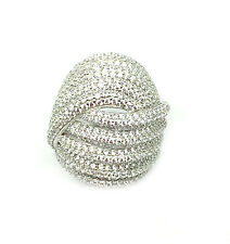 Cubic Zirconia Ring & Sterling Silver Rhodium Plated Round