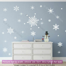50 Snowflakes Christmas Wall Art Sticker Removable Nursery Decal Shop Home Decor