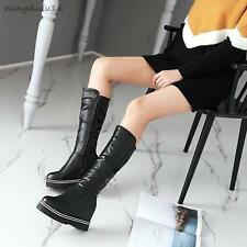 Ladies Womens Stylish Platform Hidden high heels Side zip Mid-calf Formal Boots