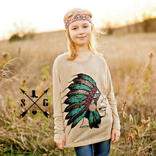 GIRLS TAUPE ROYAL INDIAN CHEIF TUNIC TOP LONG SLEEVES SIZE 4, 6, 8, 10, 12