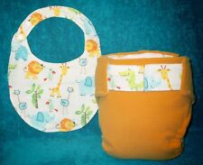 Small All In One Cloth Diapers + matching Infant Bib  set 1