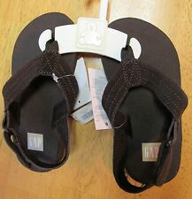 NWT Baby Gap Brown Suede Ankle Strap FLIP FLOP SANDALS 7T-8T OR 9T-10T