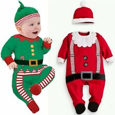 Baby Boy Girl Christmas Xmas Santa Claus Costume Outfit Romper Clothes+Hat Set