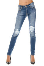 DON'T CRY New Woman Blue Destroyed Stretch Denim Jeans Pants Made in Italy