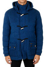 BARK new men long wool blend coat Blue with removable Hood MADE IN ITALY