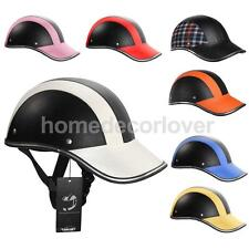 Motorcycle Motorbike PU Leather Helmet Motocross Half Open Face Visor Cycling