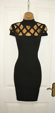 Black Cut Out High Neck Midi Bandage Bodycon Evening Party Dress Size 8 10 12 14
