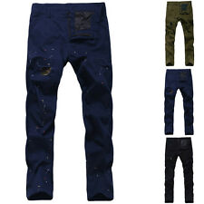 Men's Trend Stylish Casual Color Dots Pattern Holes Straight Trousers Long Pants